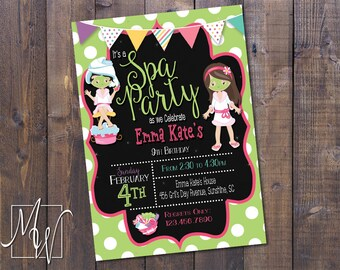 Spa Day Birthday Party Printable Invitation