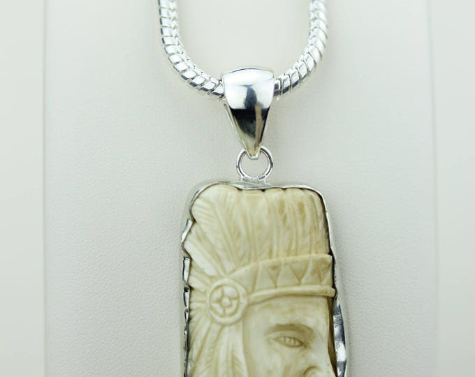 Stunning Creation! Chief TECUMSEH Totem Goddess Face Moon Face Bone Carving 925 S0LID Sterling Silver Pendant + 4MM Chain p4312