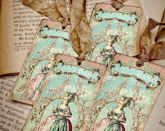 Marie Antoinette Gift Tags - French style - Shabby chic tags - 4 pcs in pack - Eco-friendly paper