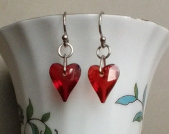 Crystal Heart Earrings-Swarovski Crystal Red Magma Wild Hearts-Deep Red-Love Hearts-Romantic Gift-Sterling Silver
