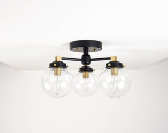 Semi Flush Matte Black and Raw Brass 3 Clear Globe Mid Century Flush Mount Industrial Modern Polished Nickel Gold UL Listed
