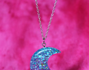 Kawaii glitter moon necklace ~ pastel goth necklace ~ kawaii jewelry ~ fairy kei ~ decora