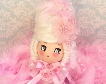 Marie Antoinette art doll Marie Antoinette tree topper cake pink holiday pink christmas centerpiece