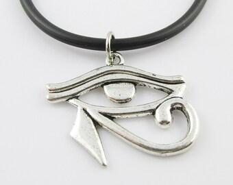 Egyptian Eye of Horus Charm Choker Necklace Black Cord