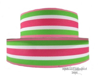 10 Yds WHOLESALE 1.5 Inch Lime and Shocking Pink Stripe grosgrain ribbon LOW Shipping Cost