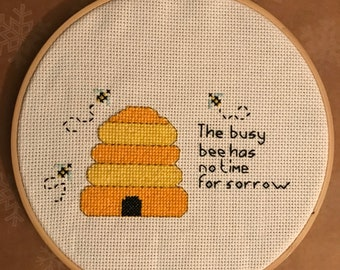 Finished cross stitch bee hive