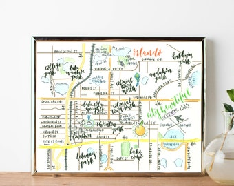 Map of Orlando, Florida watercolor print 8 x 10