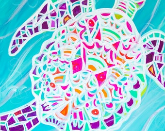 Ancient Sea Turtle - Colorful Abstract Art - Paper Print