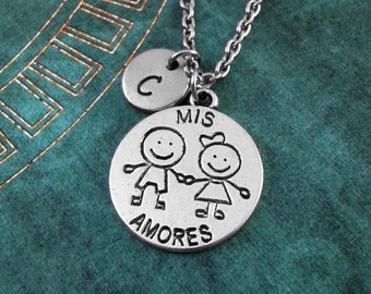 Mis Amore Necklace, Custom Mother's Day Gift, Personalized Necklace, Children Pendant, Valentine's Day Jewelry My Love Necklace Gift for Mom