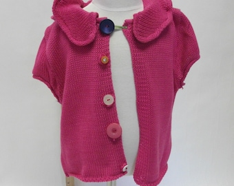 Kid's Pink Cotton Handmade Sweater