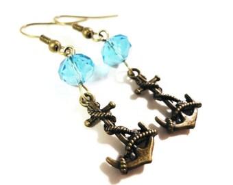 Anchor Charm Earrings, Bronze Earrings, Aqua Blue Crystal Bead Earrings, Beaded Dangle Earrings, Nautical Earrings, Women's Beadwork Jewelry