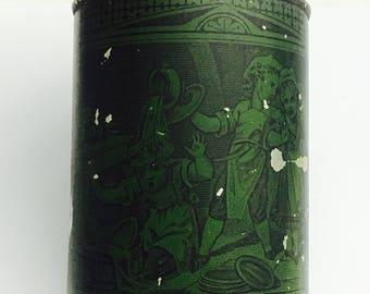 Antique Schepps Cocoanut Green Round Tin Litho Baking Can Victorian Children Baking Kitchen