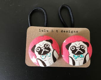Pug fabric covered button hair tie pair