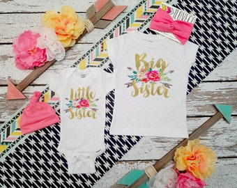 GLITTER Big Sister Little Sister Outfit  / Headbands Optional / Big Sister Little Sister