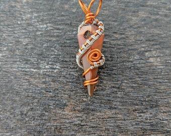 Carnelian Swirl Wire Wrap Pendant