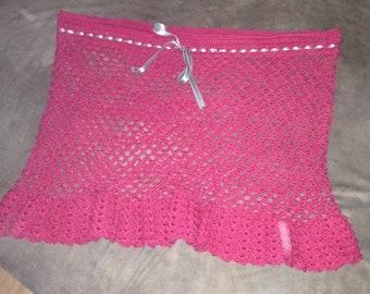 Summer Skirt pink-crochet/handmade