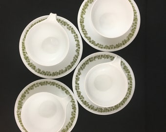 Vintage Corelle Crazy Daisy Hook Handle Coffee Cups With Saucers Green Set of 4