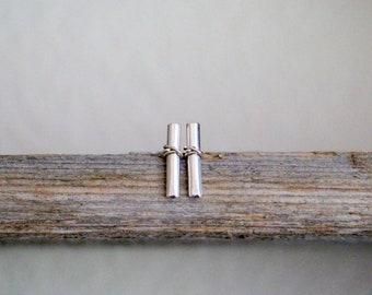 Gold Bar Studs , Modern Metal Bar Earrings in Gold , Rose Gold , Sterling Silver ,  Minimalist Stud Post Earrings