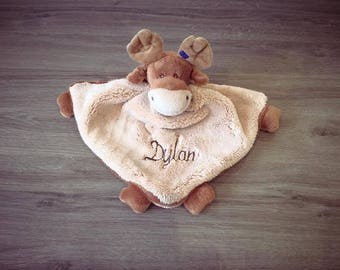 Reindeer 35 cm with embroidered name blanket - Brown & hazelnut