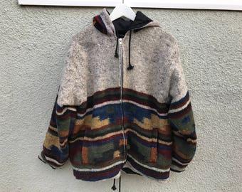 Vintage Aztec Tribal Handmade Wool Sweater