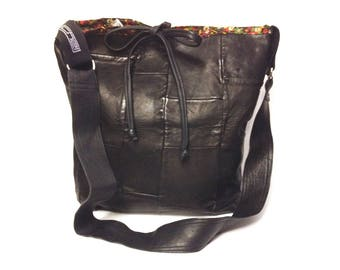 Black Leather Shoulder Bag/ Black Messenger Bag/ black patchwork handbag/ One of a kind/ Statement Bag/ gift for her