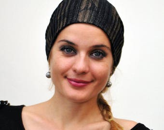 Lightweight Slouchy Beanie, Black and Gold Hat, Women Fashion Hat, Dress up Headcover, Hair Loss Hat, Stylish Chemo Hat, Stretchy Hat,