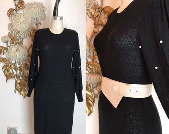 RESERVED 1980s dress sweater dress knit dress size medium black dress beaded dress button back dress puff sleeves dress vintage dress