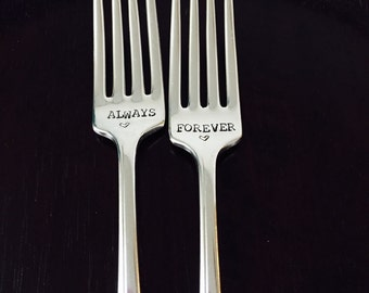 Always/Forever Personalized wedding forks-Custom vintage hand stamped forks