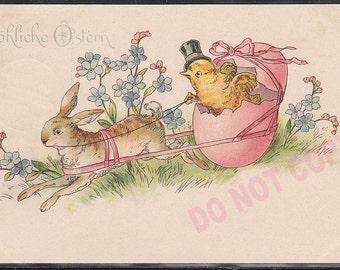 Antique original Victorian 1900 German postcard Humanized easter Bunny Rabbit Egg Chick post card litho