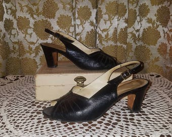 Vintage 1960's Black Leather Slingback Heels Size 6, Made in Italy