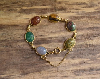 Scarab Bracelet - 1/20 12kt Gold Filled vintage - Semiprecious gemstones - Egyptian revival - scarab beetle jewelry