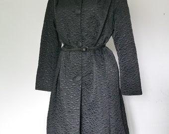 Retro 60s era long L-XL Rain Coat with pockets Rain Coat Black  Chic Original Women's Black Raincoat Trench Coat-Over size