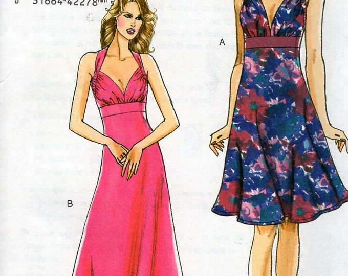 Free Us Ship Sewing Pattern Vogue 8493 Plunging Neckline Halter Dress Maxi Size 12 14 16 18  Bust 34 36 38 40 plus size Out of Print 2008