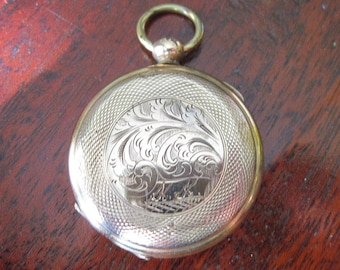 Antique Victorian Locket - Tintype of Woman - Gold Filled - Pocket Watch Style - C1850 to C1860