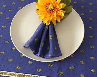 Blue and Yellow Napkins, French Country Napkins, Blue Napkins, Bastide