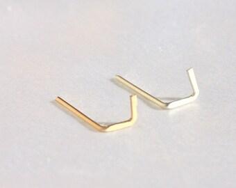 V Stud earrings - tiny gold V studs,Tiny 14k gold filled line earrings, Gold V studs, line studs