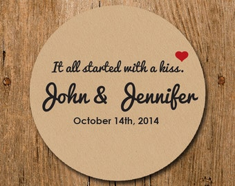 Customized Stickers - It all started with a Kiss Wedding Stickers - Labels - Wedding - Birthday Party - Thank You Stickers