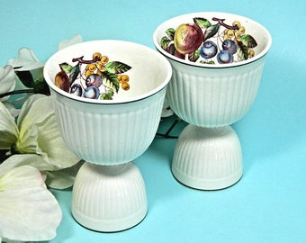 A Pair of Wedgwood Edme Wentworth Large Double Egg Cups Fruit Motif