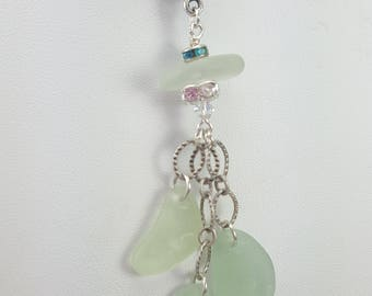 Sea Glass Necklace Sea Glass Necklace Sea Glass Jewelry Aqua Sea Glass Necklace Sterling Silver N-601