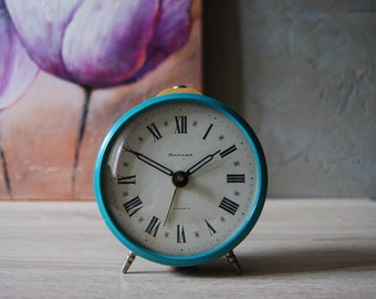 Desk clock,Table clock,Vintage Mechanical alarm clock,table clock mechanical clock,alarm clock Jantarj alarm clock,decor vintage alarm clock