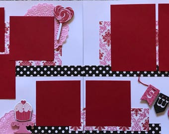 Sweet pre made two page scrapbook layout
