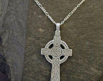 Celtic cross etsy sterling silver celtic cross pendant on sterling silver chain aloadofball Images