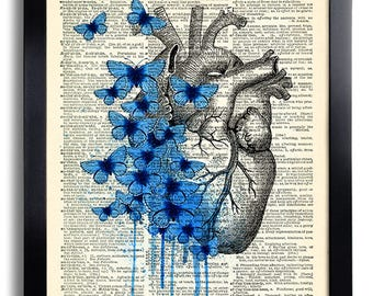 Heart Human Anatomy Butterfly Anatomical Heart Print on Vintage Dictionary Page, Anatomy Heart Wall Decor, Heart Poster Anniversary Gift 467