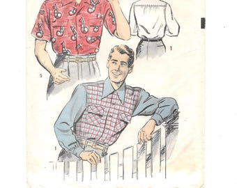 1940s Men's WW11 Swing Era SHIRT ~ Vintage Sewing Pattern ~ Size Medium   ~ Long or Short Sleeve ~ Buttoned Cuff ~ Pockets ~ Advance 3968