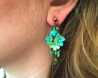 AQUA FLOWER EARRINGS Hand beaded by Vintage Jewelry Designer Colleen Toland