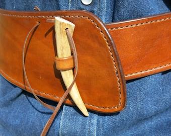 Women's Boho Leather Sash Belt with Antler Closure