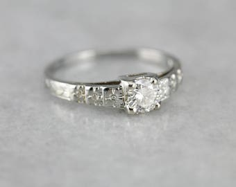 Gorgeous Diamond Engagement Ring, Art Deco Diamond Ring, Floral White Gold Ring 16LLPQ-N