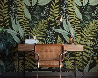 Botanical Wallpaper, Ferns Wallpaper, Wall Mural, Green Home Décor, Herbal  Decorations,