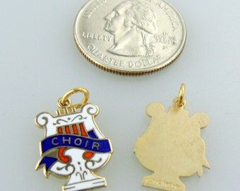 NOS Lyre (Choir)pendant with enamel GF