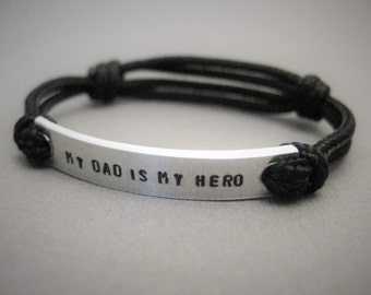"Kids Bracelet, ""my dad is my hero"" in all caps, Stamped Kids Bracelet, with adjustable cord, Bracelet for Boys, Bracelet for Girls, Children"